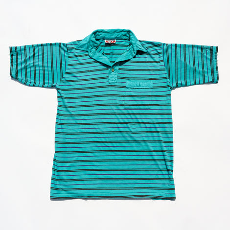 Vintage 90s Spalding Golf Teal Stripe Polo