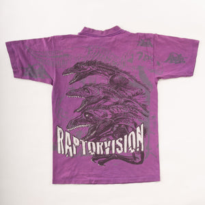 Vintage 90s Single-Stitch Raptor Vision T-Shirt with Front and Back Graphic