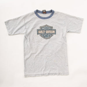 Vintage 90s Harley Davidson T-Shirt with Double Sided Graphic and Blue Ring Collar