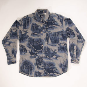 Vintage 90s Woolrich Button Down with Animal Pattern Throughout