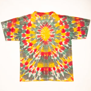 Vintage 90s Tie Dye T-Shirt with Embroidered Marijuana Leaf
