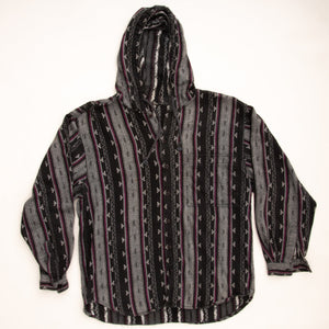 Vintage 90s Aztec Print Hooded Button Down Shirt