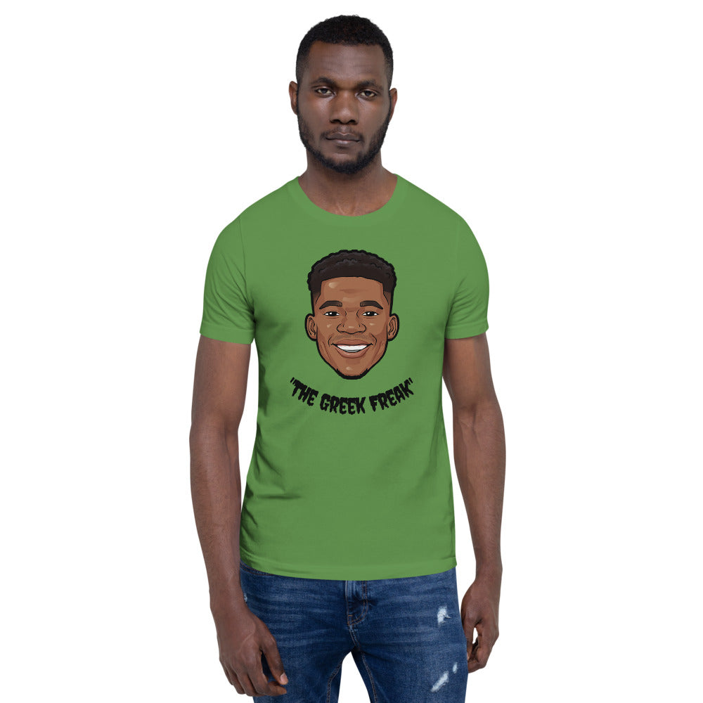 """The Greek Freak"" Giannis Antetokounmpo Big Head  Unisex T-Shirt"