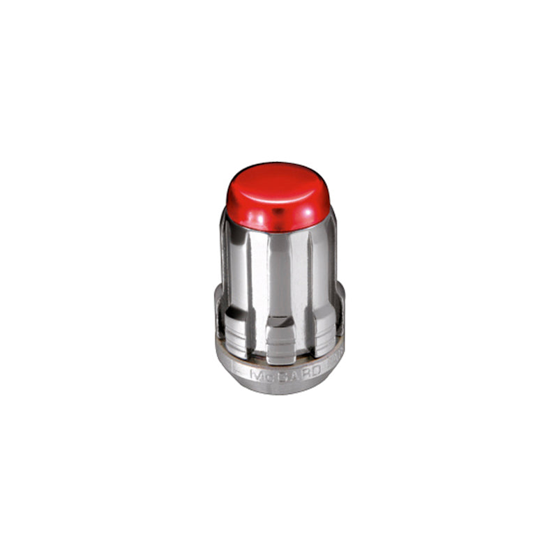 McGard SplineDrive Tuner 4 Lug Install Kit w/Tool (Cone) M12x1.5 / 13/16 Hex - Red Cap (Clamshell)