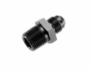 "-12 Straight Male Adapter to -08 (1/2"") NPT Male - Black"