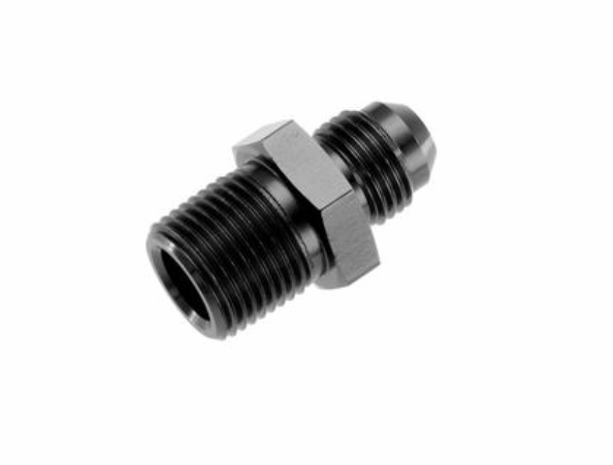 "'-08 Straight Male Adapter to -04 (1/4"") NPT Male - Black"