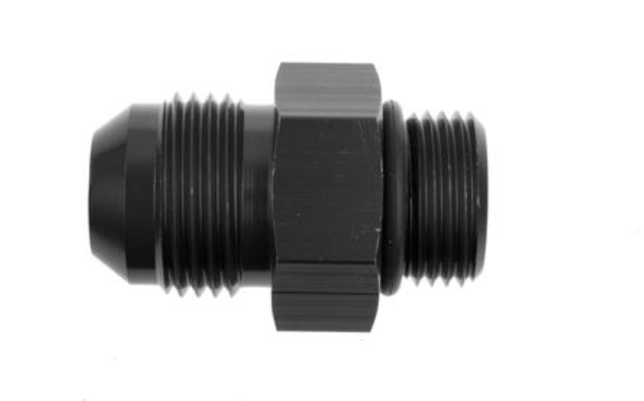 -12 Male to -12 O-Ring Port Adapter (High Flow Radius ORB) - Black