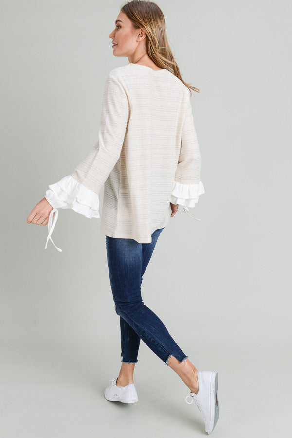 Taupe Ruffle Sleeve Top
