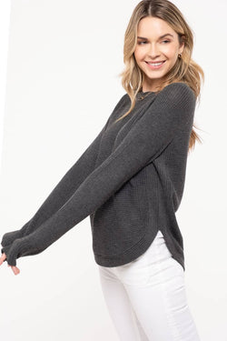 Autumn Grey Knit Sweater Scalloped Neckline