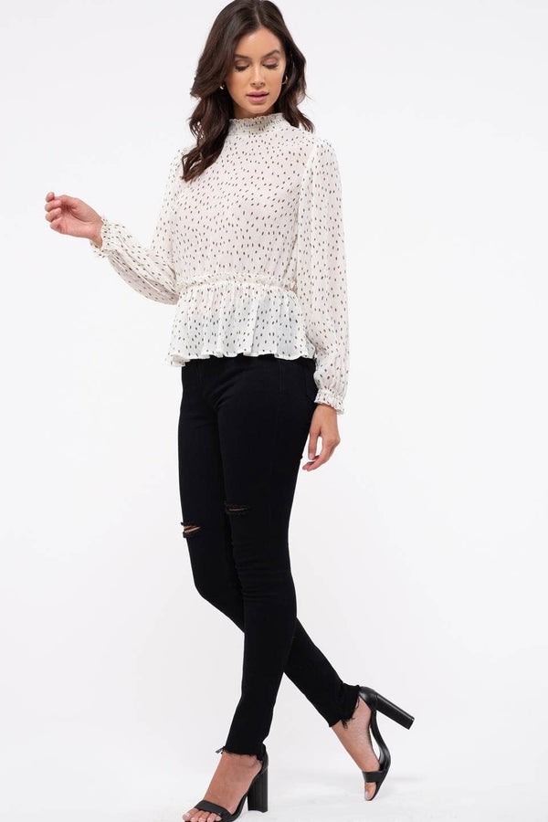 White Dot Print Blouse