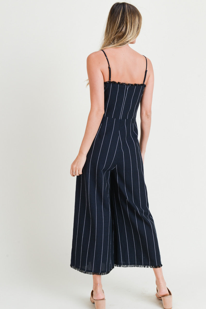 Navy Jumpsuit With Fray Detail