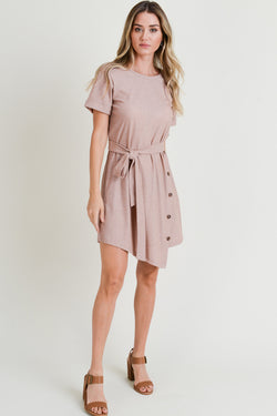 Muave Side Button Dress