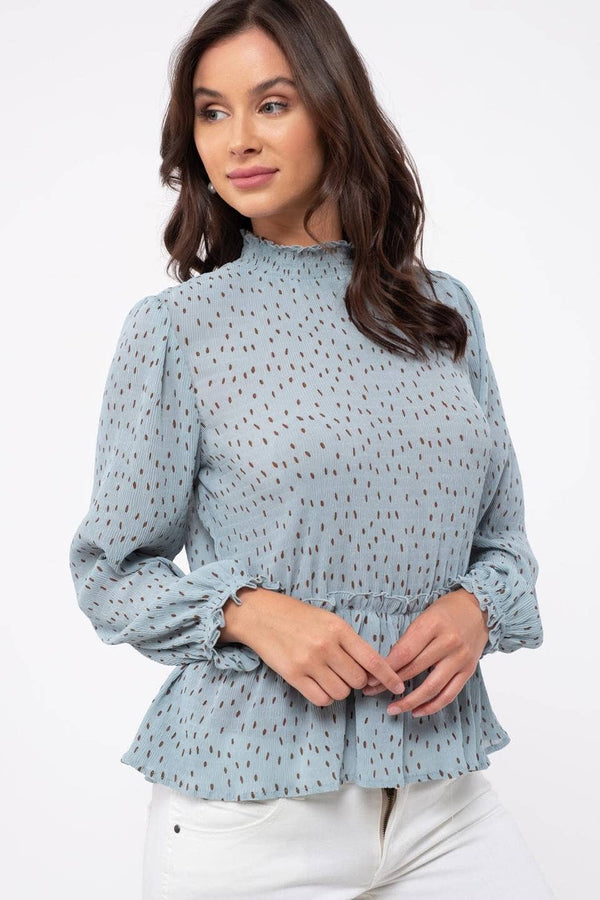 Blue Dot Print Blouse