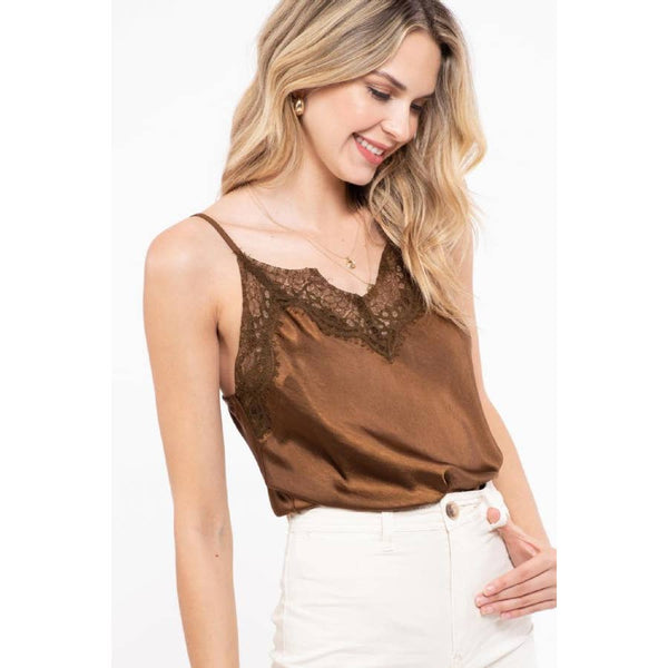 Brown Lace Trim Cami