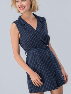 Navy Stripe Collar Sleeveless Romper