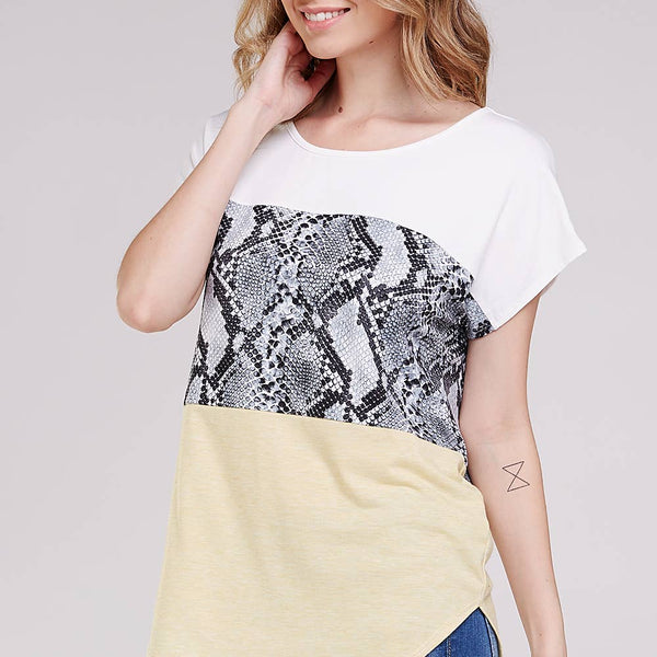 Snakeskin Color Block Top