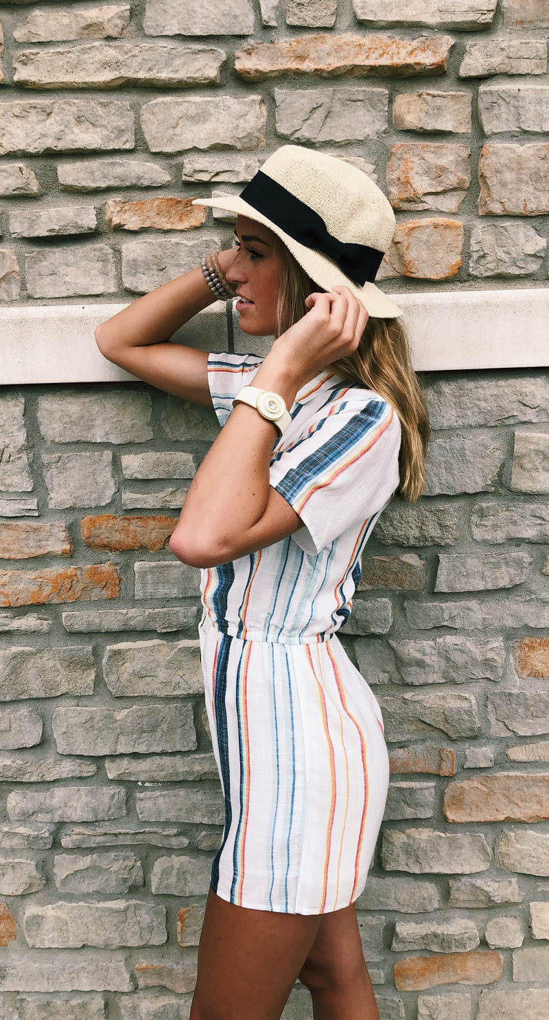Multi Color Stripe Romper