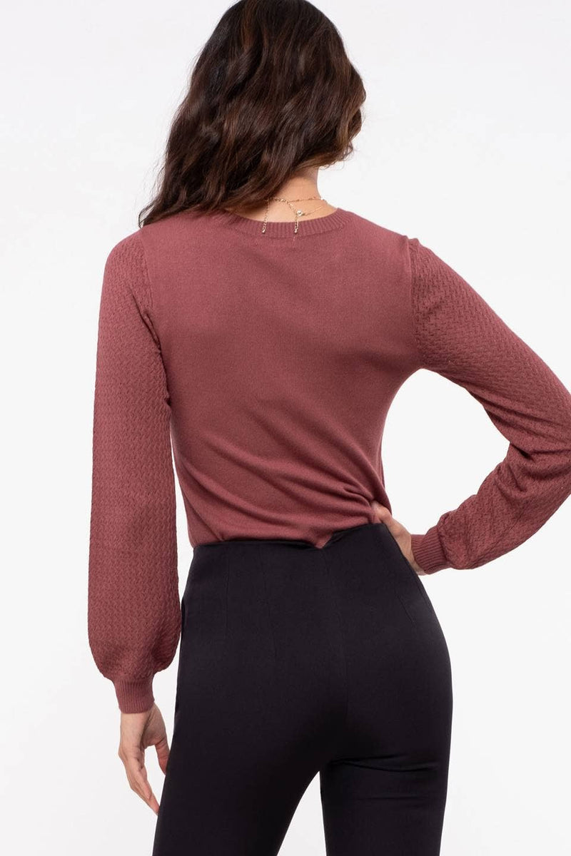 Red Bean Knit Sweater Top