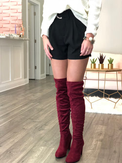 Burgandy Over The Knee Boots