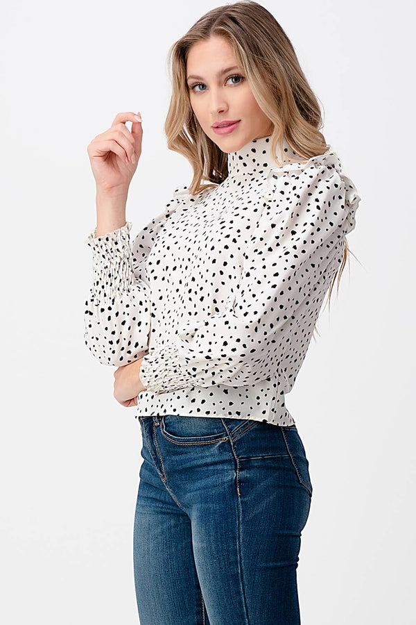 Elle Spotted Mock Neck Ruffle Sleeve Top