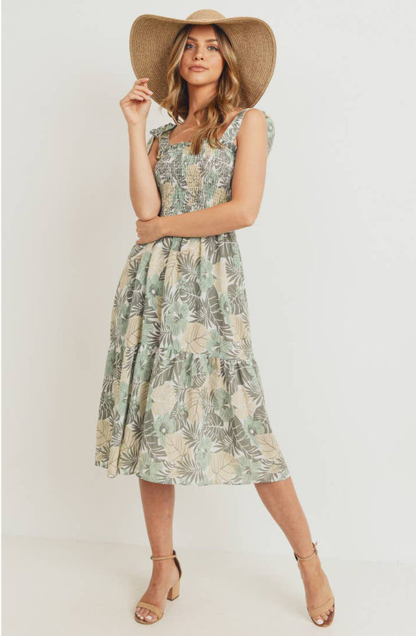 Ally Floral Smocked Midi Dress
