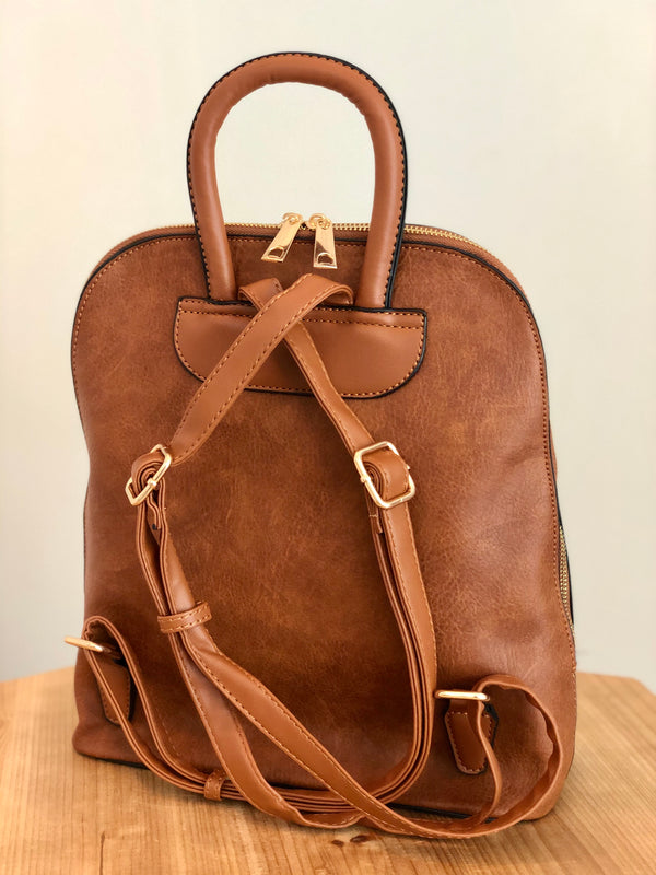 World Traveler Brown Backpack Purse