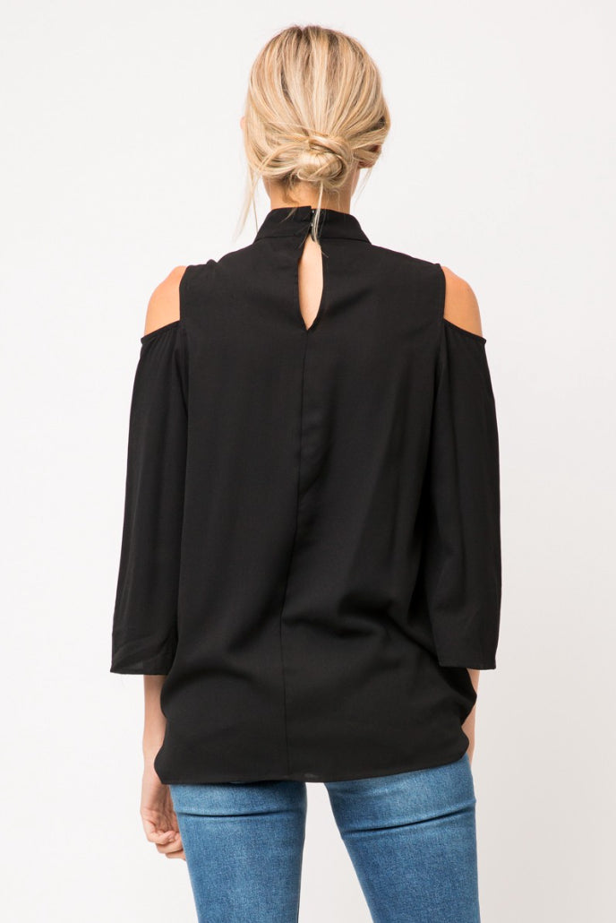 Black Cold Shoulder Top