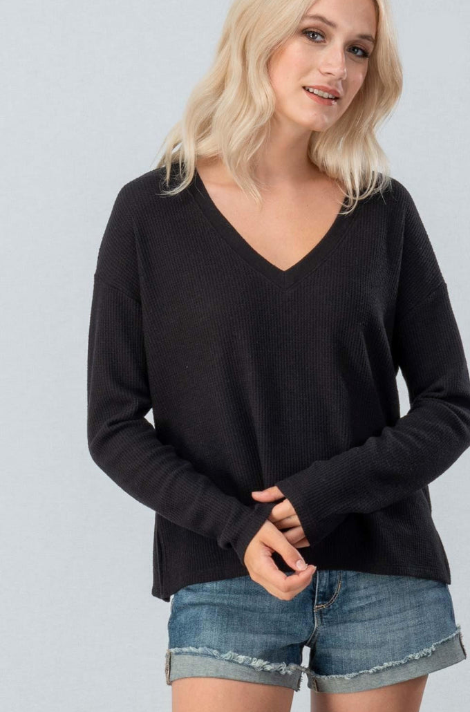 Black Waffle Knit Top