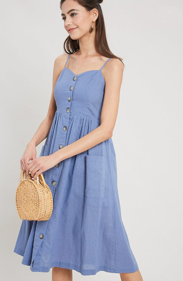 Blue Sweetheart Dress W/Pockets