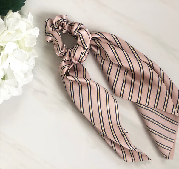 Blush Stripe Hair Scrunchie