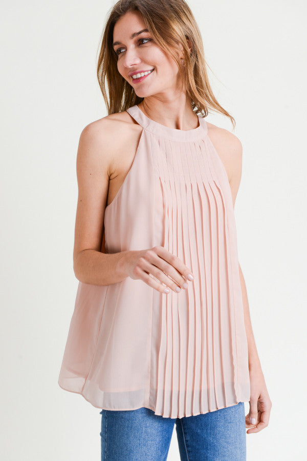 Blush High Neck Pleat Tank