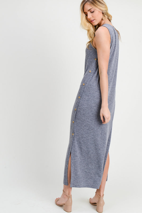 Long V-Neck Dress W/Side Buttons