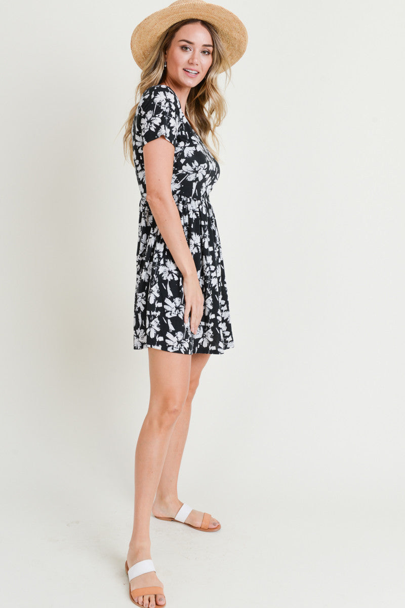 Charcoal Print Short Sleeve Dress