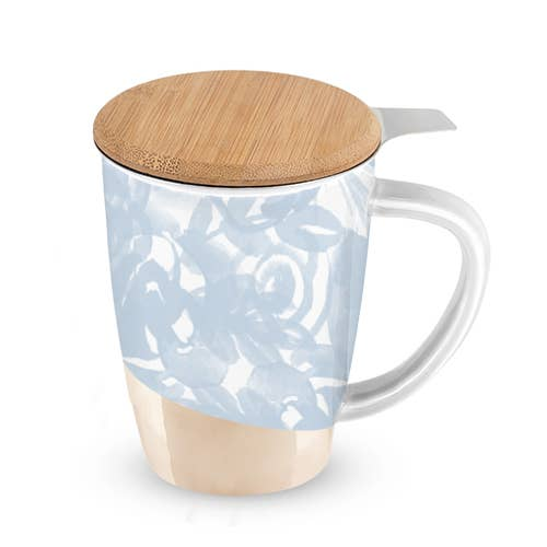 Dusty Blue Ceramic Tea Mug and Infuser