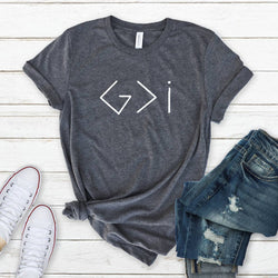 "Dark Grey ""God Greater Than I"" Tee Shirt"
