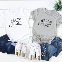 "White ""Grace Wins"" Inspirational Tee Shirt"