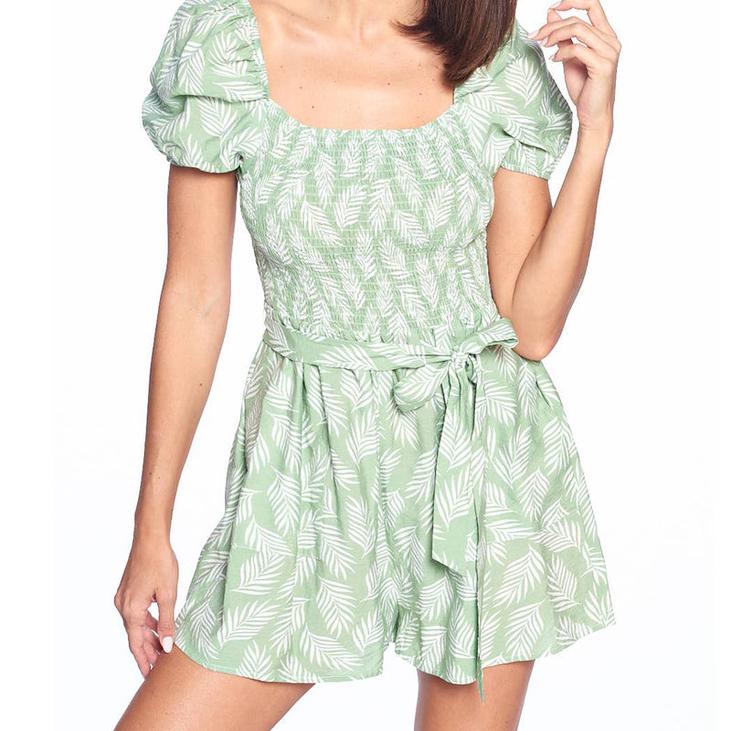 Green Tropical Print Romper
