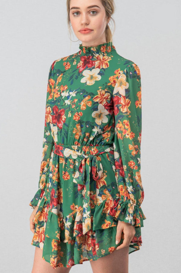 Juliana Green Boho Floral Dress