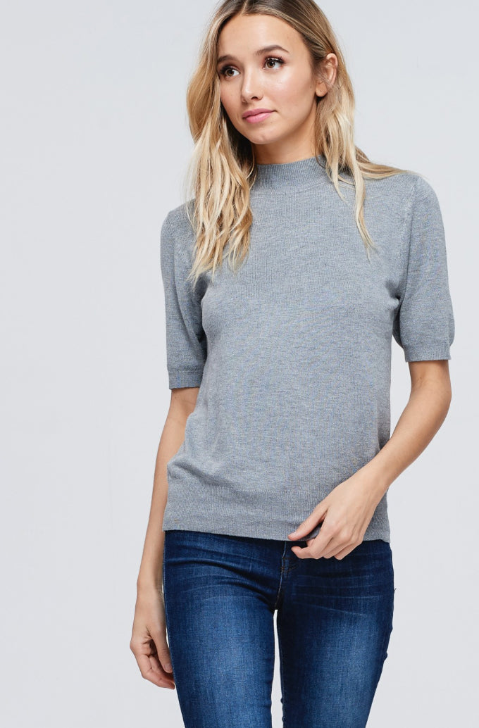 Heather Grey Knit Sweater Top