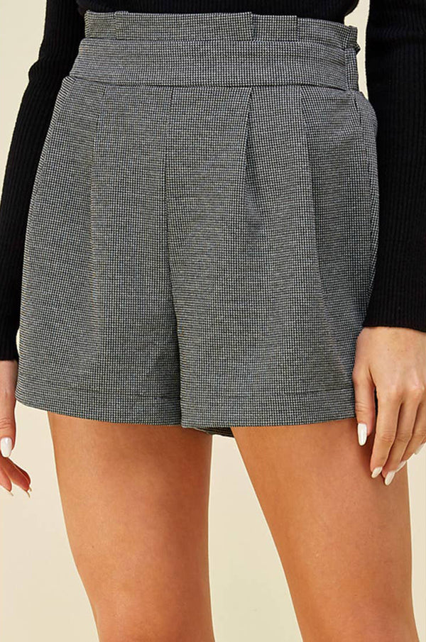 Grey Pleated Waist Shorts