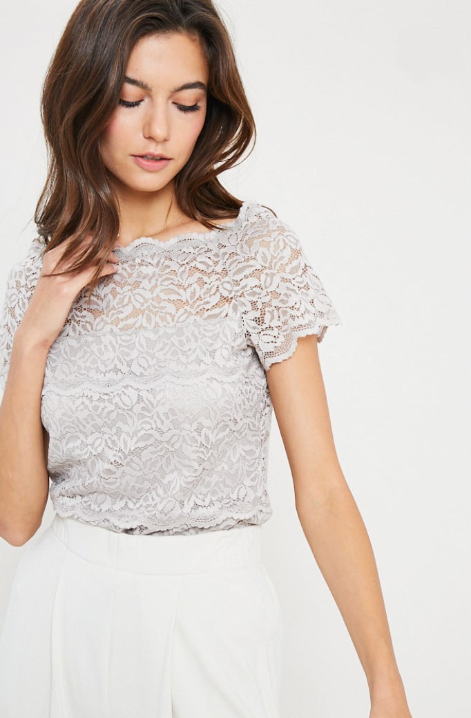 Lace Champagne Top