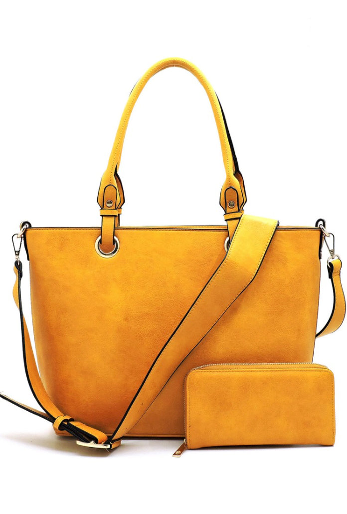 Mustard Faux Vegan Leather Shopper Bag + Wallet