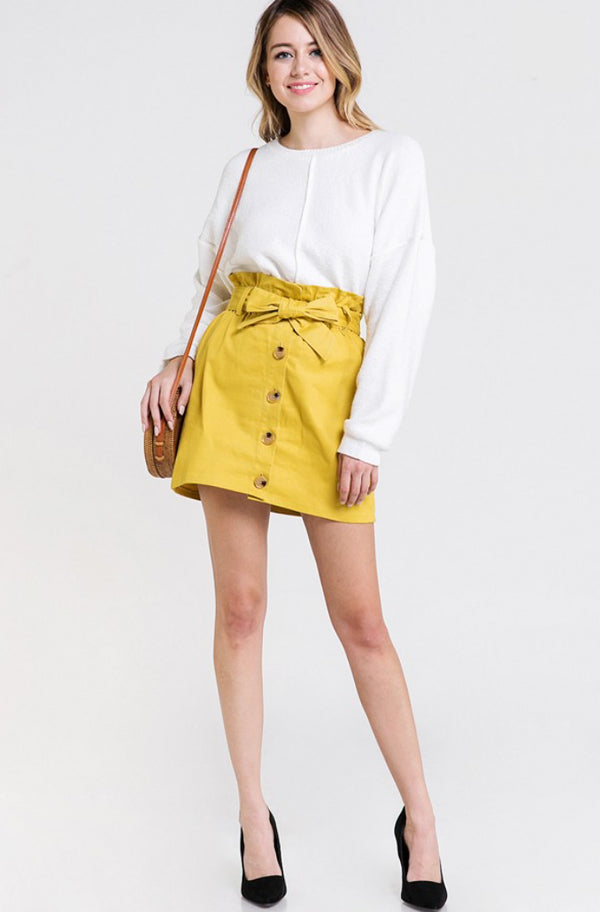 Mustard High Waste Button Down Skirt