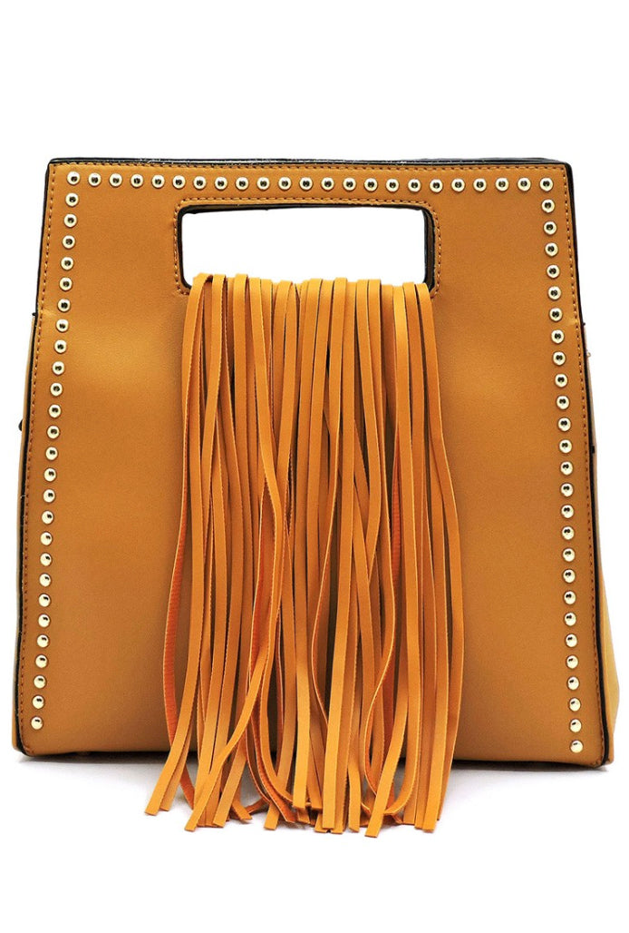 Mustard Fringe Studded Bag