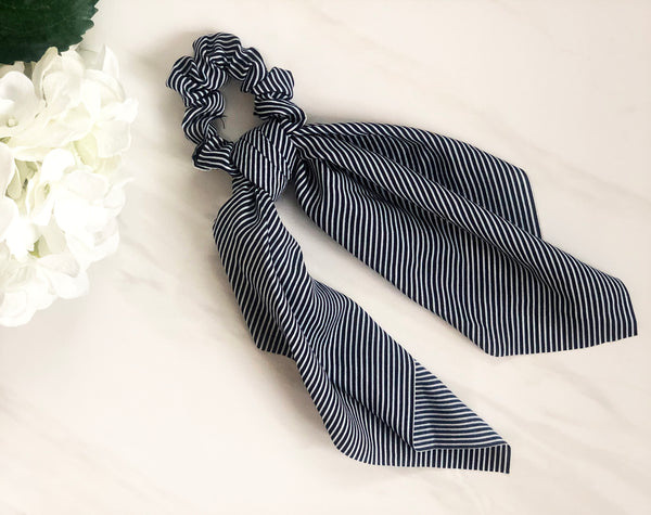 Navy Stripe Hair Scrunchie