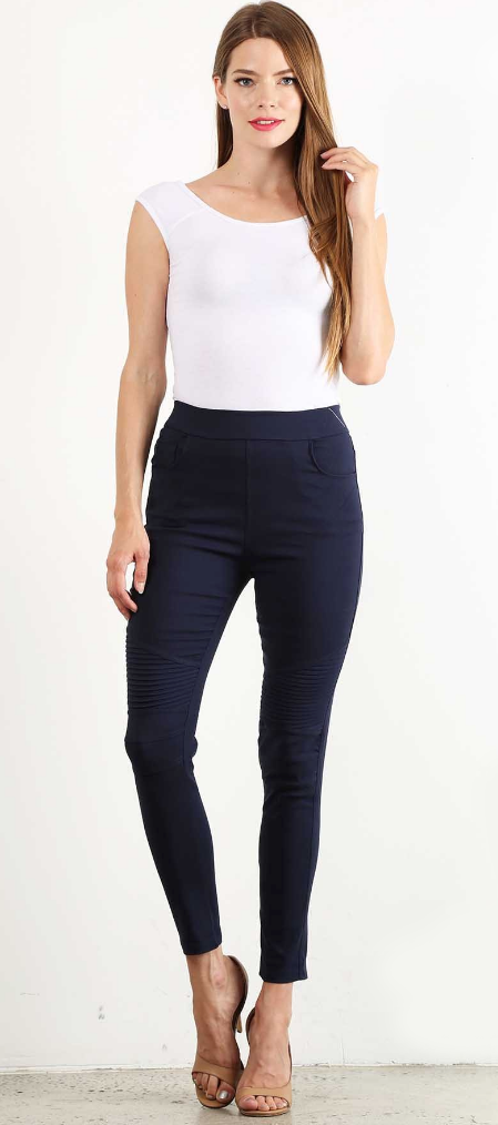 Cotton Blend Moto Leggings