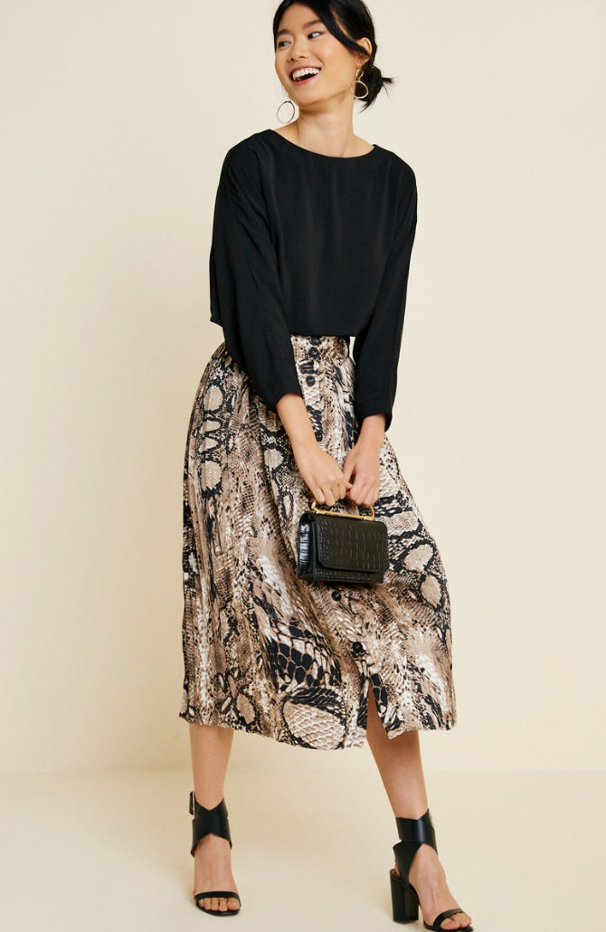 Pleated Snakeskin Midi Skirt