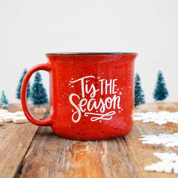 "Red ""Tis The Season"" Campfire Holiday Mug"