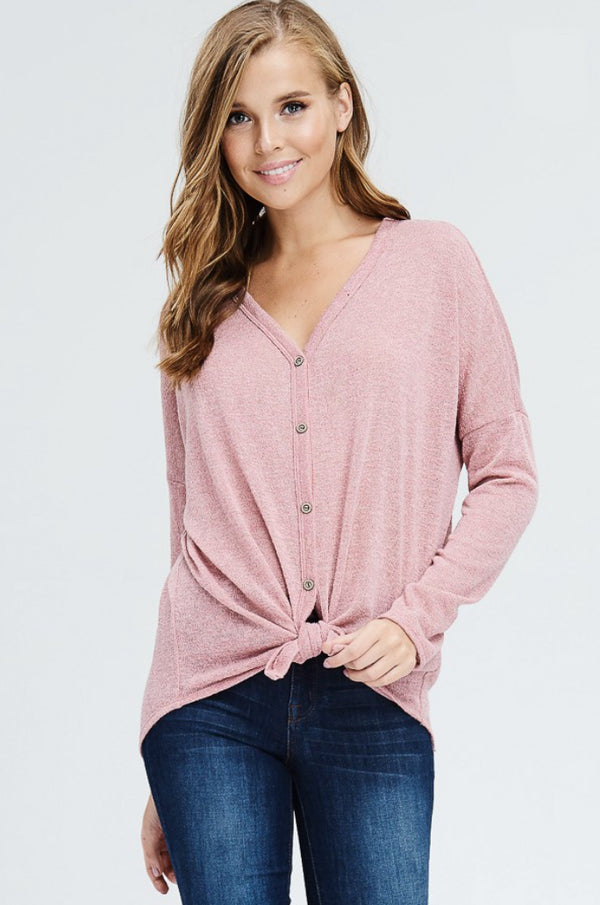 Solid Knit Button Down Top With V-Neck
