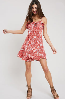 Brick Floral Ruffled Mini Dress